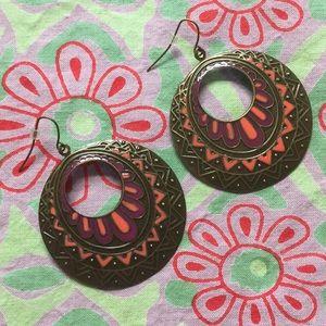 Jewelry - Round Aztec graphic pattern earrings orange bronze